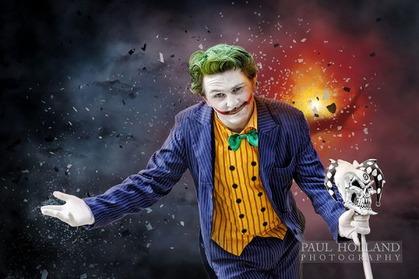 Comic Art window trail display showing The Joker