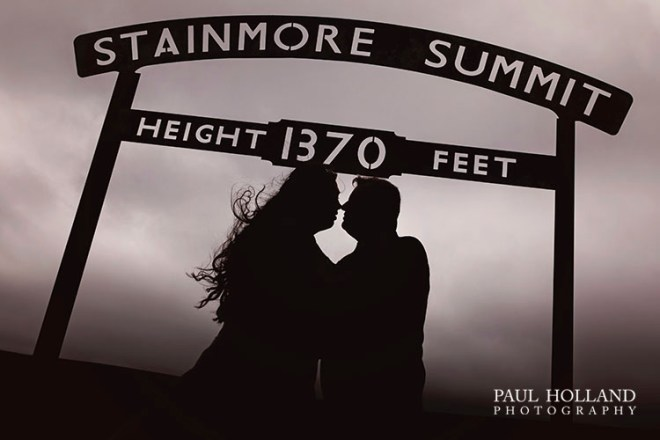 Wedding photography image of Sarah and Grant at Stainmore Summit.
