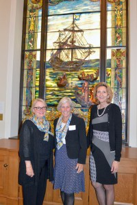 l to r: Mary W. Park, Past Directress General of the Holland Dames; Pauline Vietor Sheehan, Patrooness of the Holland Dames; Anna van Oosterom, Honorary Diplomatic Member of the Holland Dames.  In the background is de Halve Maen the stained glass window donated by the Holland Dames to the N-YHS in 1909 and restored in 2011 by the family of Anna Glen Vietor, Past Directress General of the Holland Dames.