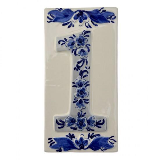 delft blue ceramic tile house number one 1