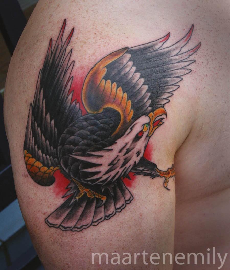 tattoos design by maarten shoulder eagle