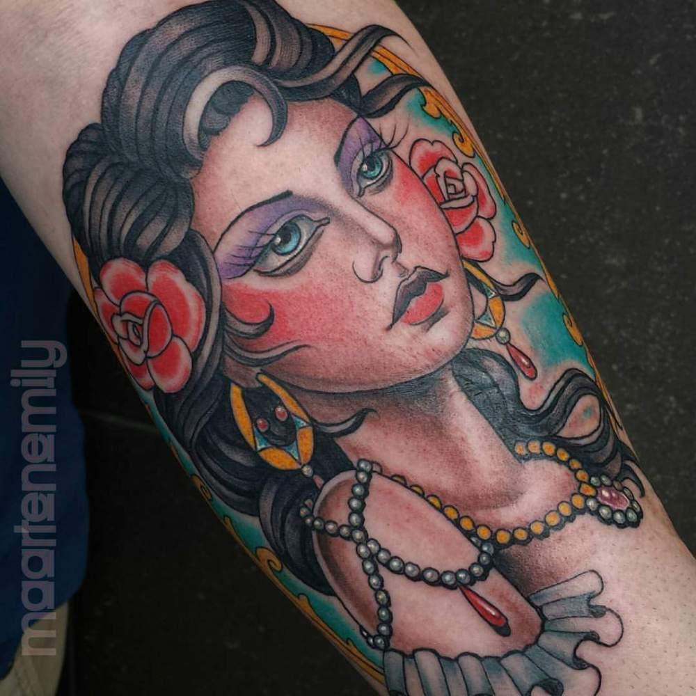 tattoos design by maarten beautyiful lady