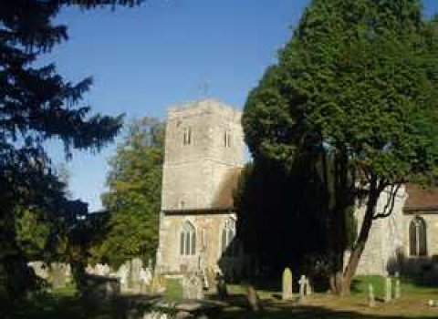 Hollingbourne Churchyard with trees