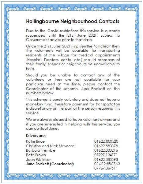 neighbourhood contacts