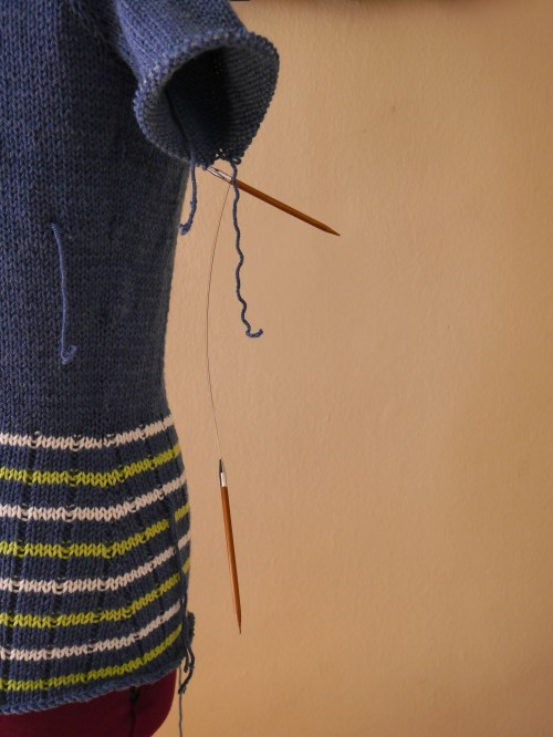 Knitting Needles Hanging in the Air