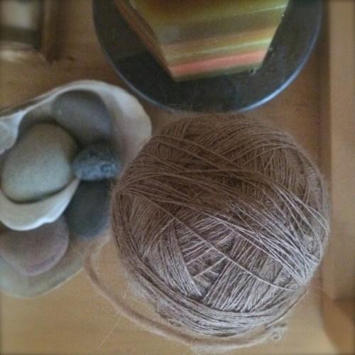 spindle spun ball of yarn
