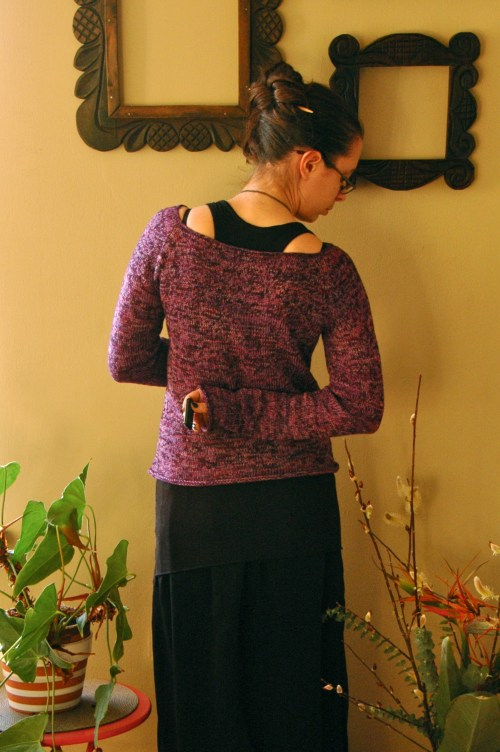 purple sweater - back
