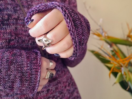 purple sweater - sleeves