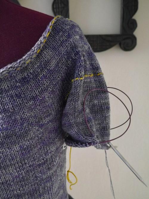 knitting a sweater