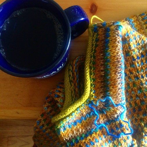 sweater knitting with coffee