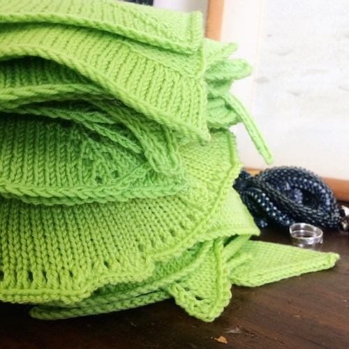 steam blocked knit swatches