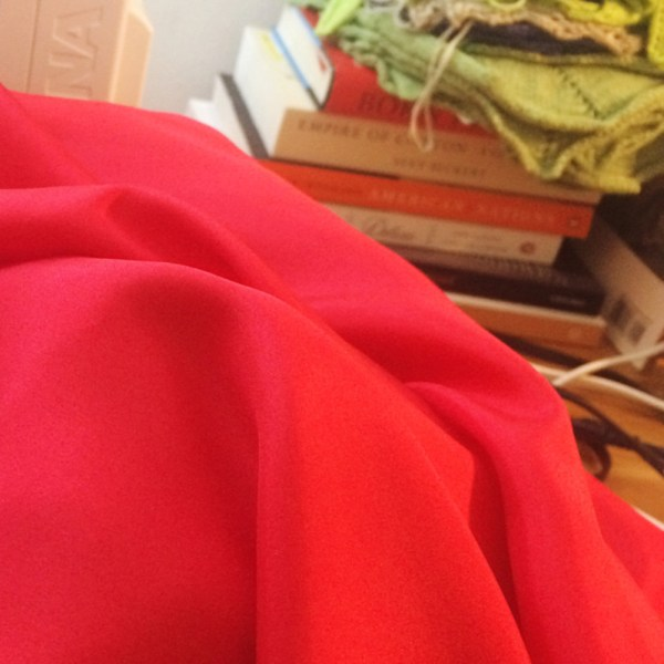 sewing red silk