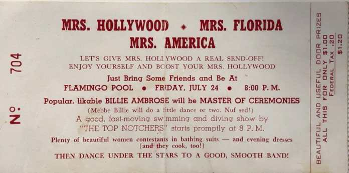 Ticket from the Mrs. Hollywood Competition in 1953