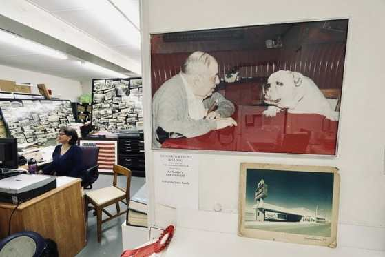 Photo of Joe Sonken and his dog Bozo, on display at the Hollywood Historical Society