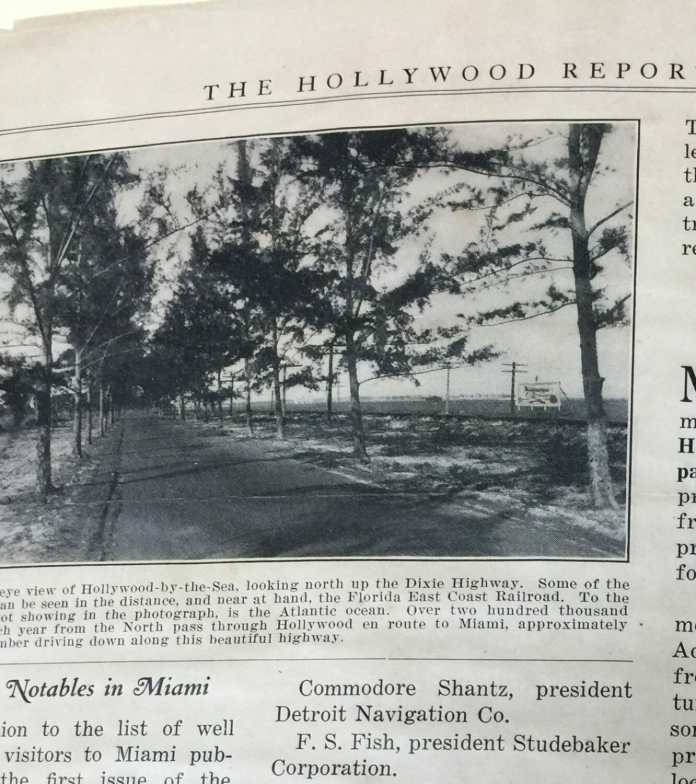 Dixie Highway and FEC Railway through Hollywood north to Dania. Hollywood Reporter, April 15, 1922. Courtesy Hollywood Historical Society.