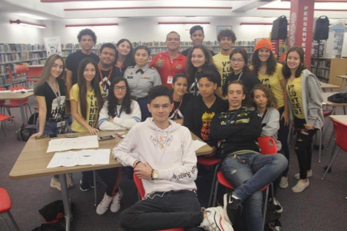 Members of the South Broward High School Latinos in Action during a meeting at the school.
