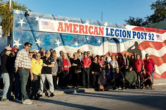 Navy Veteran Creates Patriotic Outdoor Mural on American Legion Hall