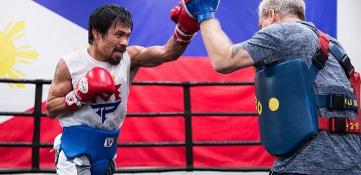 Manny Pacquiao sparring with Freddie Roach