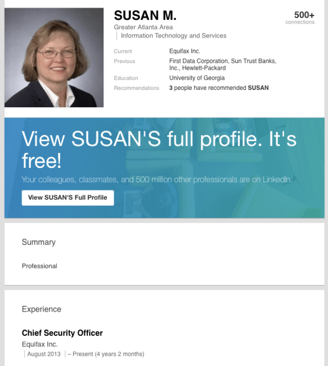 Equifax CISO Linked In