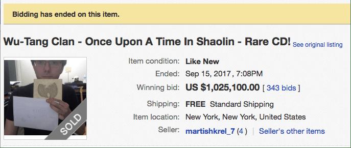 WTC Rare CD Price One Million