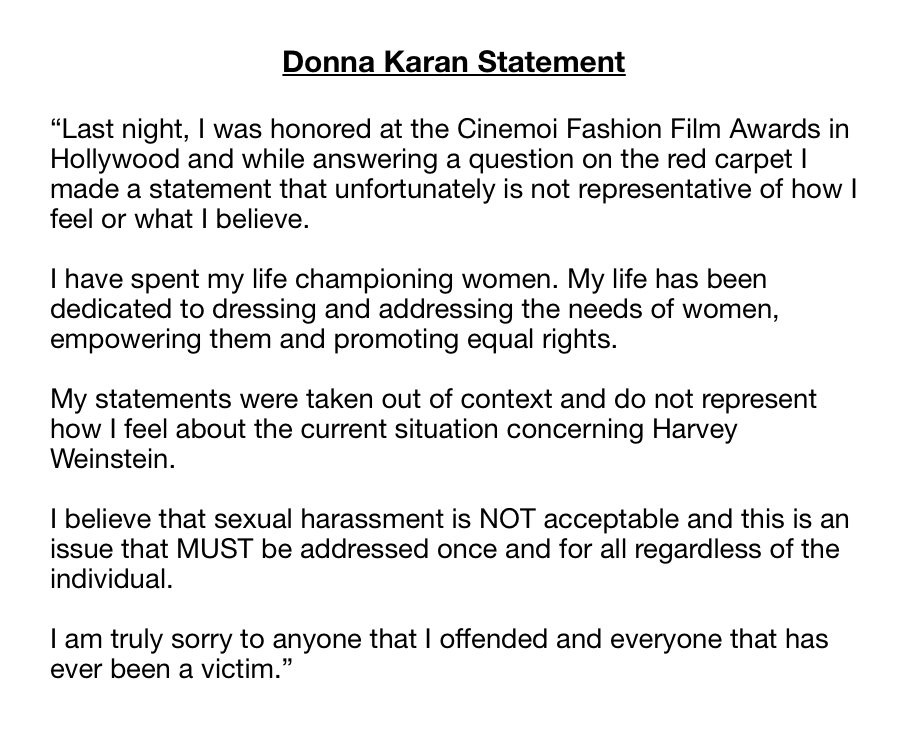 Donna Karan on Harvey Weinstein