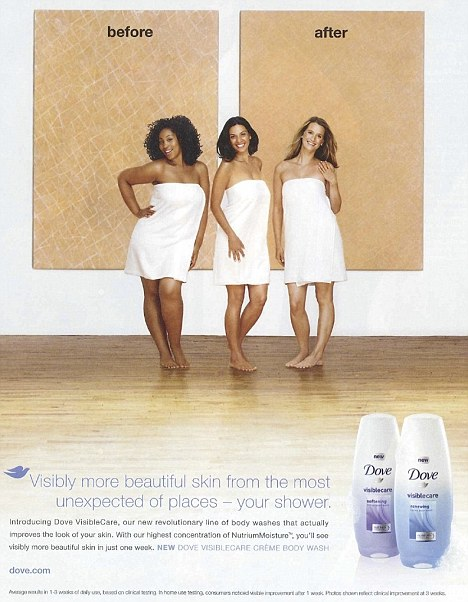 Before and after racist Dove ad