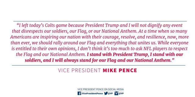VP Pence on Indianapolis Colts