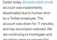 President Trump's Twitter Account Was Deactivated For 11 Minutes