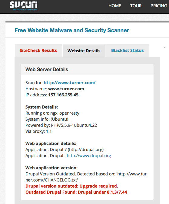 outdated Drupal site