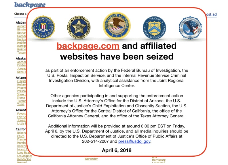 Backpage.com Domain Seized