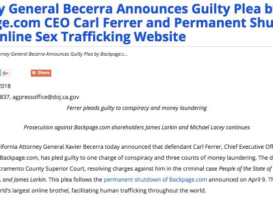 Attorney General Becerra on Backpage