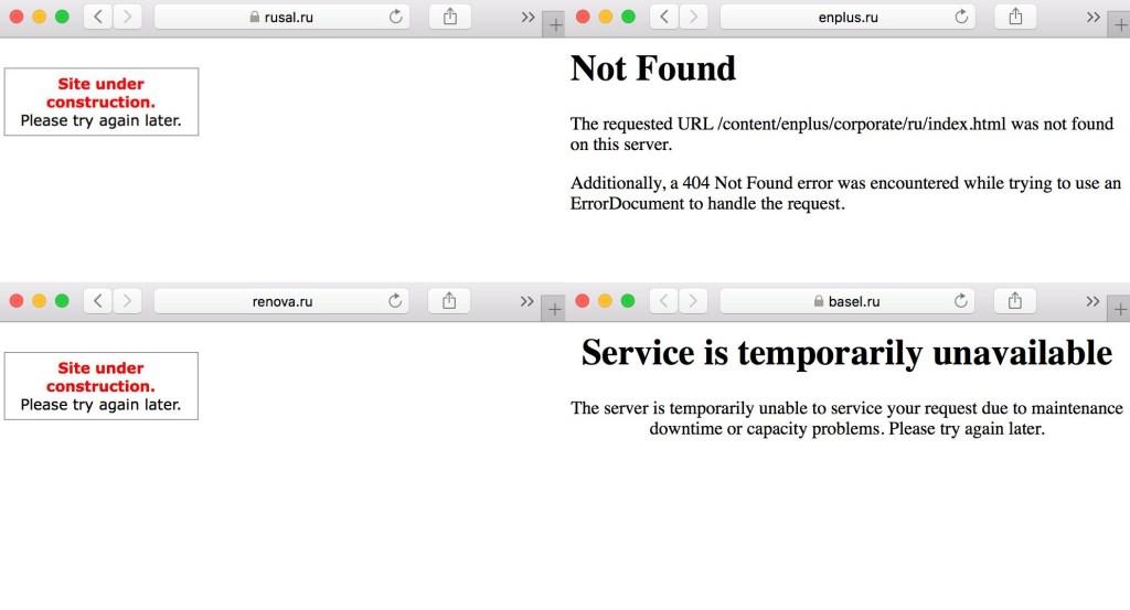 Russian websites down?