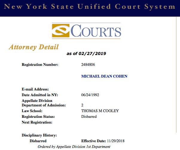 Michael Cohen disbarred