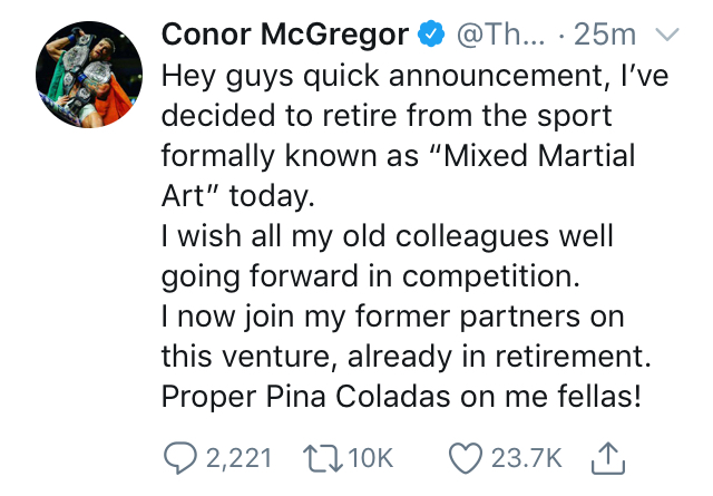 Conor McGregor retiremetn tweet