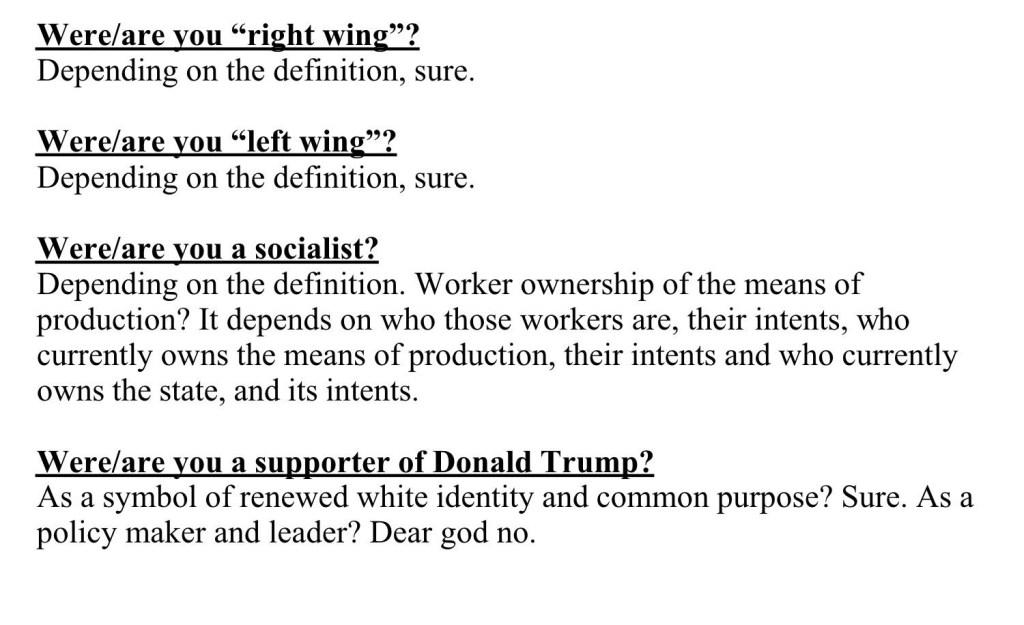 Left wing, Right wing, socialist