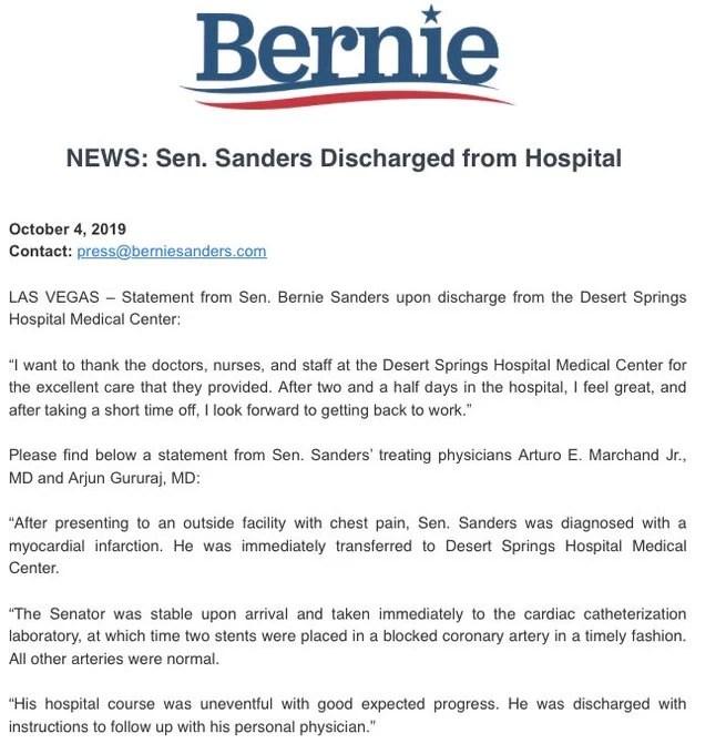Sanders heart attack confirmed
