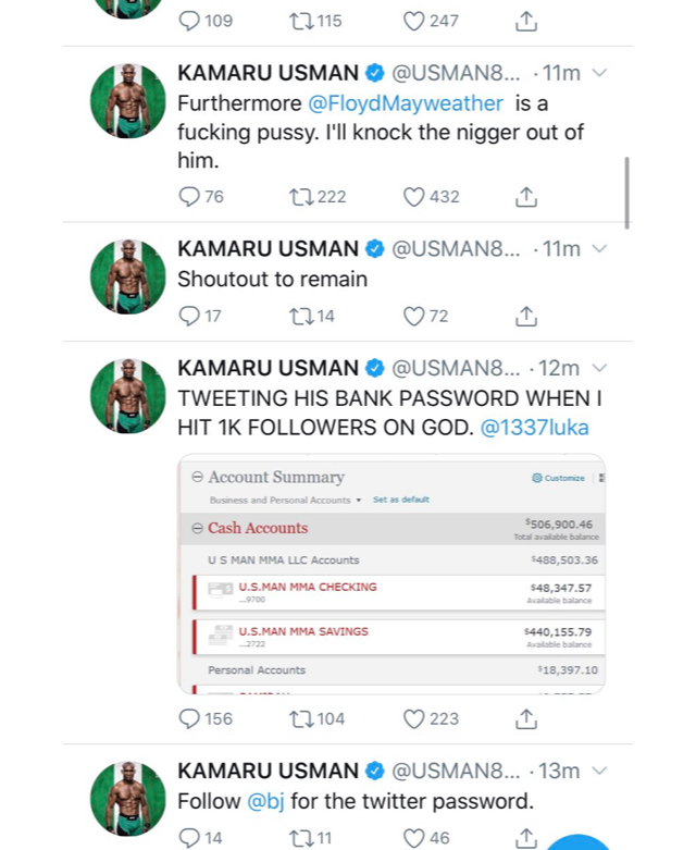 Usman's hacked Twitter account