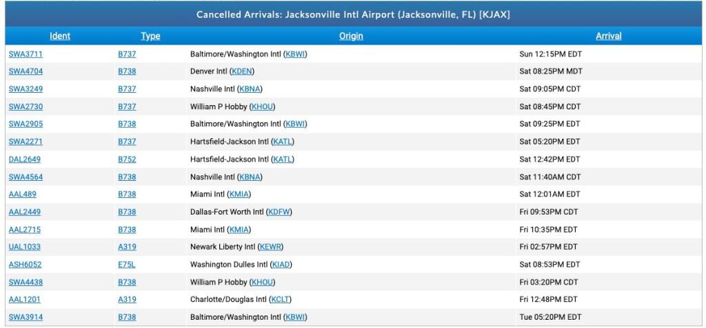 Jacksonville airport delays