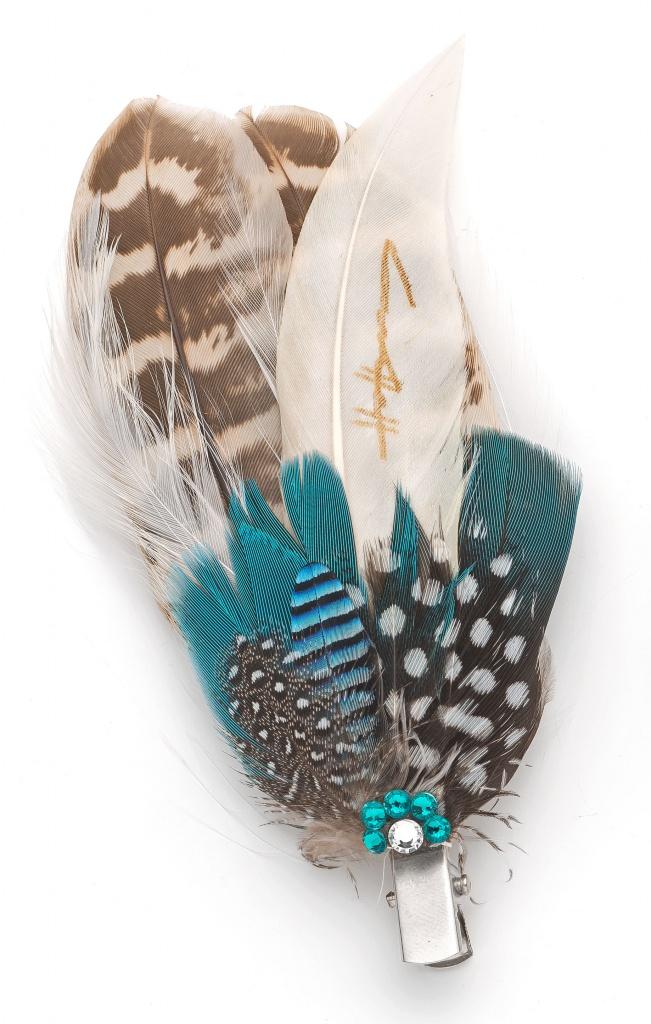 Feather Lapel Pin Amp Hair Clip Set