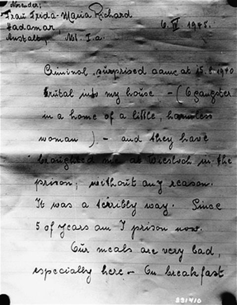 First page of a letter written by Frida Richard, a survivor of the Hadamar Institute, in which she describes her cruel treatment at the euthanasia facility