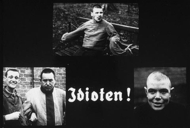 Propaganda slide featuring three portraits of mentally ill patients
