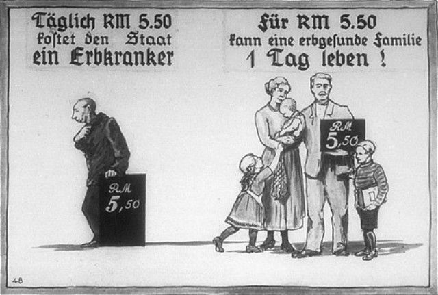 Propaganda slide produced by the Reich Propaganda Office showing the opportunity cost of feeding a person with a hereditary disease
