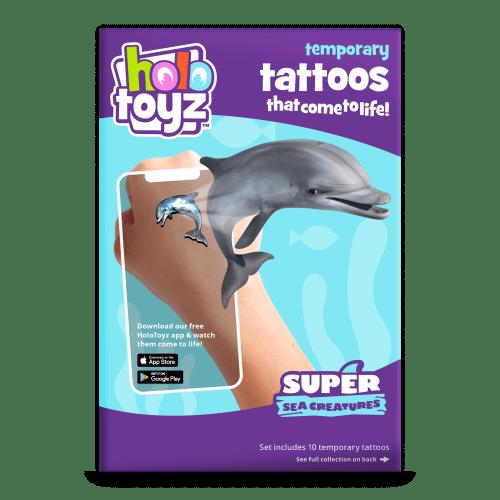 tatouage dauphins baleine tortue - stickers qui prend vie holotoyz