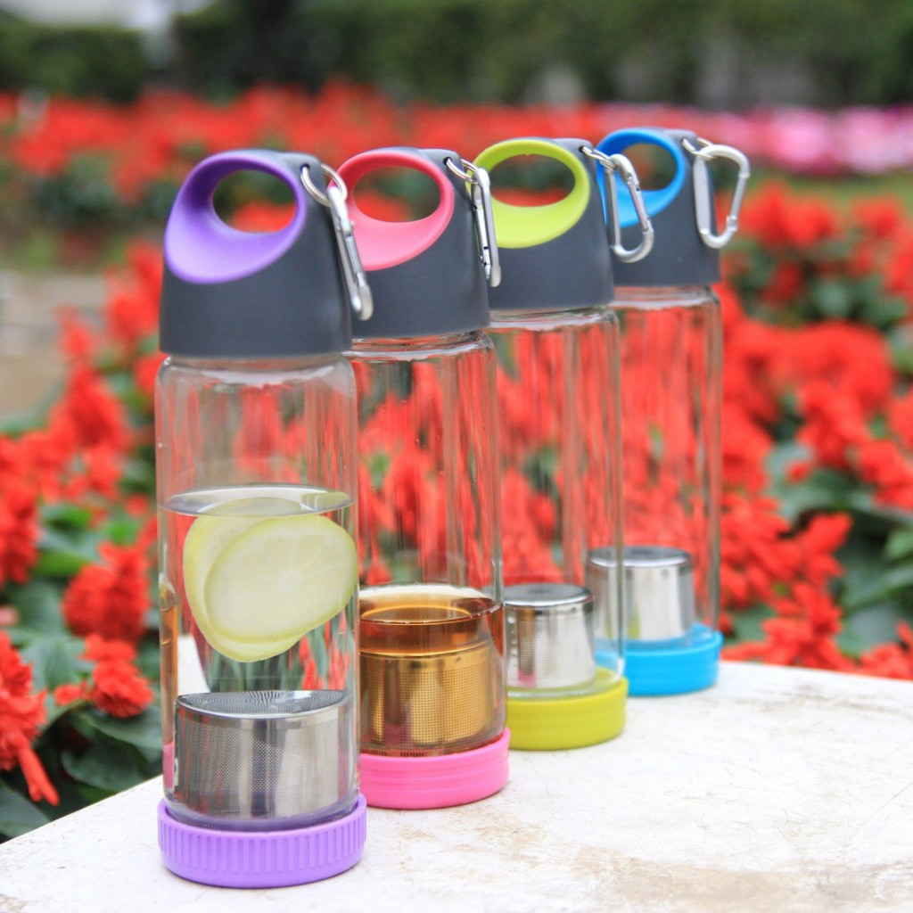Just Life Portable Glass Water Bottle With Tea And Fruit