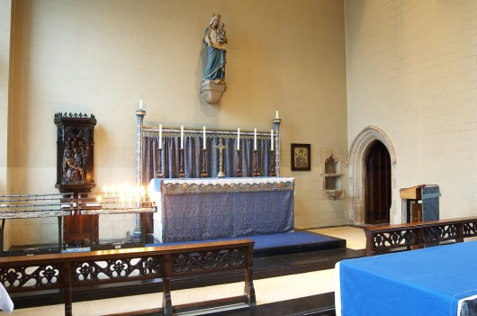 Altar rails in place