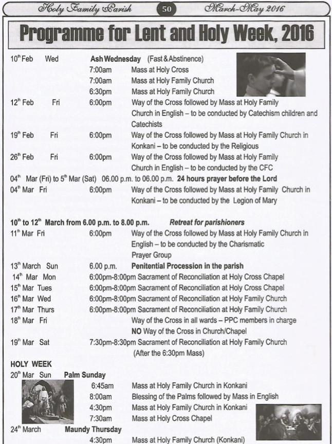 Lenten Program 2016