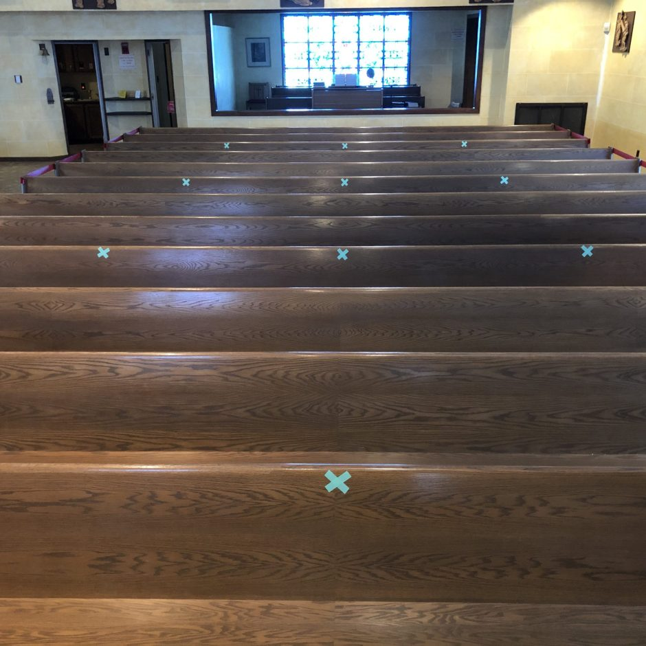 Pews Are Also Marked For Seating