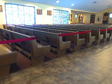 Pews Are Separated For Distancing