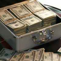 Dollars in a cash box