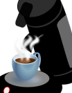 Hot coffee from pot